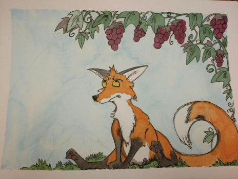 Aesops: The fox and the grapes by Waddle2u
