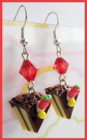 Chocolate Cake Earrings 2 by cherryboop