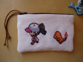Cross stitch Charmander and his trainer purse by Miloceane