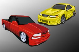 Vector Truck and Car by aibrean