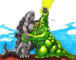 Godzilla vs Hedorah colored by Lersso