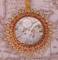 Golden Steampunk Necklace by cjgrand