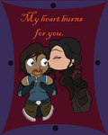Chibi Korra and Asami V-Day Card by Inuranchan