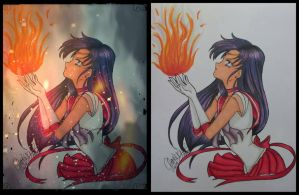 Sailor Mars Copic Marker and App Edit by xXChrissy87Xx
