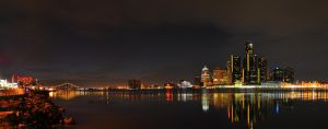 Detroit Skyline at Night by Gynormus-Cranius