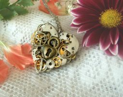 Romantic Steampunk Heart Necklace by FantasyDesigns1