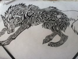 Wip angry trib wolf by Hedeltrez
