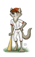 Wolfie Baseball Player by CarolineRaquel