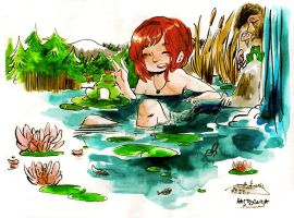 the girl in the water by Rin-Uzuki