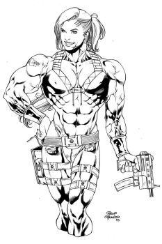 MUSCLED BADASS GIRL commission by PowRodrix