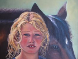 blond girl with horse yeremyan by fusunyeremyan