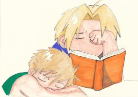Edward and Alphonse Elric sleepy by TheLonelyMoon8