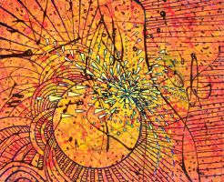 pollock planet vortex mess yellow orange red black by santosam81