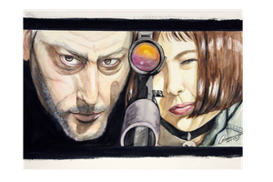The Professional - Jean and Natalie - Watercolor by kuroneko-blkcat