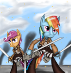 Rainbow Dash and Scootaloo Attack on Titan by Titan2955