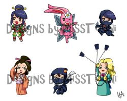 Power Stone Chibis Ayame Set by MissTooni