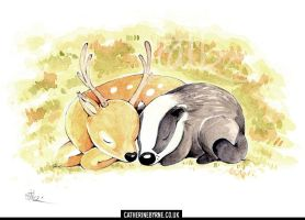 Stag and badger cuddling in the thicket by CatByrne