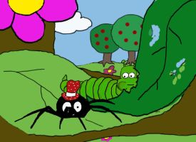 spider and caterpillar munch by stranger-than-me