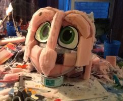 Barn Owl fursuit head WIP by ProjectOWL