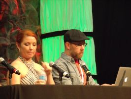 Jamie Marchi and Chris Sabat at panel by albertxlailaxx