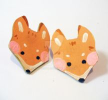Hand Painted Fox Earrings by papersouls