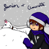 Junior and Amorette build a snowman by Kage-Kyoodai