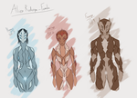 Alien Redesign Sketches - Females by Blitzz09