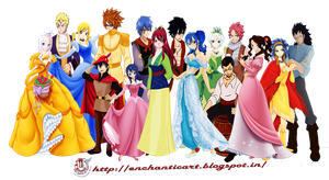 Fairytail Couples and Disney couples Crossover by enchantic-erza