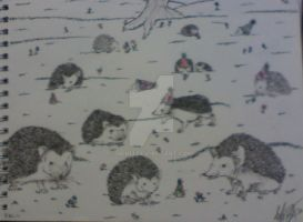 field of partying hedgehogs by HER13