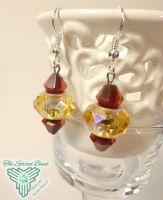 Blood and Gold Pandora Earrings by TheSortedBead