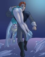 Frozen's Elsa OTS carried by Hans by cuttlesquid