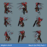 Mech Girl PNG Stock Pack 1 by Alegion-stock