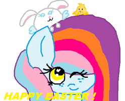 Crappy mouse art:Happy Easter by cottoncloudyfilly