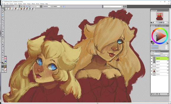 Peach and Rosalina WIP 121616 by Zeldalina