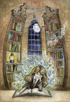 Hermione in the Library by xbirdyblue