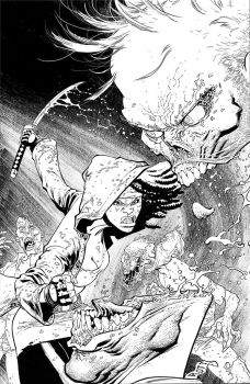 The Walking Dead 100 cover inks by RyanOttley