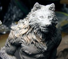 Werewolf figure WIP close up by Meadowknight