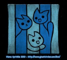 Tiny Blue Cat Stripe Painting by amegoddess