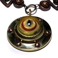 Steampunk Lynx eye Necklace by CatherinetteRings