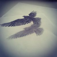bird on papers by ZeeYu
