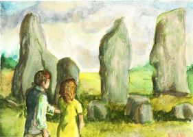 Frank and Claire explore the standing stones by Emmillustrate