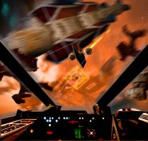 X-Wing cockpit view... by hangarbay94