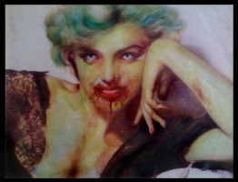 Marilyn Monroe Zombie Portrait by lady-decay
