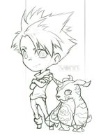 Matt and Gabumon Sketch by Tvonn9