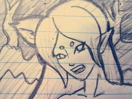 Lined paper sketch of Angry Fee by starbuxx