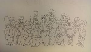The simpsons and Futurama by wsjoop1119