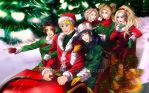 Naruto and the Girls: Merry Holiday Sleigh Ride by JuPMod
