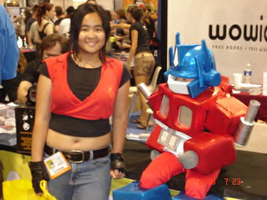 Claire and a mini OptimusPrime by KimMcCloud
