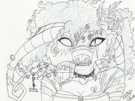 Crux Lineart with curly hair by ZeroPhantomhive