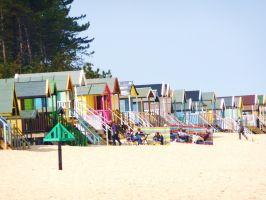 Colourful Beach huts by Toiger